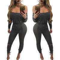 Wholesale European Sexy Jumpsuit Plus Size V neck Bodysuit Women Bodycon Jumpsuits Off Shoulder Rompers Black Clothes