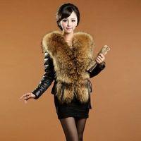 Wholesale 2017 Fashion Winter Faux Sheepskin Jacket Faux Fur Collar Women Elegant Belt Leather Coat Slim Female Warm Fur Outwear Plus size FS0951