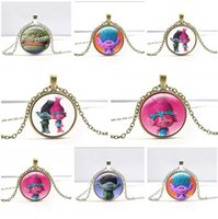 Wholesale Trolls Pendant Necklace Styles Cartoon Suki Troll Chain Necklace Coins Crystal for Children Women Christmas Gift