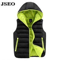 Wholesale JSEO Men Packable Lightweight Down Vest Outdoor Puffer Vests Hooded Quilted Down Coat Hood Sleeveless Jackets