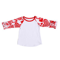 Wholesale Valentine s Ruffled Raglan Baby Girls T shirt Cotton Autumn School Girls Clothes Icing Style Shirt Heart Valentine Girls Tees