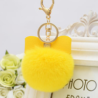 Wholesale rabbit fur pompoms Plush fur ball Real Rabbit Bowknot pom keychain Real rex Rabbit Fur Ball key ring Key Chains For Bag