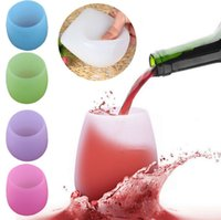 Wholesale Silicone Wine Glass Unbreakable Stemless Rubber Beer Mug Outdoor Cup Glass Wine Glass Recyclable Drinking Cups KKA1257