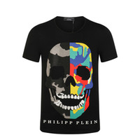 Wholesale 2017 New Summer Cotton Short Fit Slim Casual Mens Tee Rhinestone desinger Print D Skulls MENS T shirts Cotton Top quality PP1966