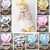 baby toys wood - Baby Teethers Colors Natural Wood Circle With Rabbit Ear Fabric Newborn Teeth Practice Toy Training Handmade Ring