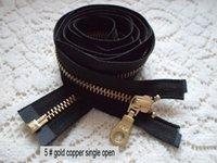 Wholesale ykk zinc alloy single golden copper jacket zipper zipper cm coat open black zipper placket gold copper sheet