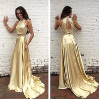 beads pattern for gown - 2017 New elegant special occasion dress women two pieces girls formal dresses y high neck evening gowns gold gowns for sale with beads