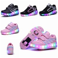 adult roller skating - LED Roller Skates Heely Sneakers Double Wheels Zapatillas Con Ruedas Automatically Kids Skating Shoes For Children Adult LJJP389