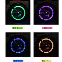 achat en gros de roue vélo lumières de soupapes de sécurité-Cyclisme vélo Cyclisme Copious Type Roue Tuyau Valve Cap Spoke Core Gaz Buse Neon LED Avertissement Sécurité Lampe Lampes