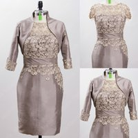 Wholesale Gorgeous Lace Mother of The Bride Dresses with Jacket Godmother Of The Groom Dress Short Vestido De Madrinha Custom Made Real Picture