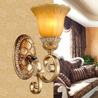 Wholesale Wall lights led wall lamp iron resin wall lighting European American royal living room hotel hall viall bedroom balcony corridor aisle lamp