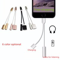 Wholesale 2 in charging Audio adapter for iPhone plus converter cable mm aux audio adapter to light connector charging cord