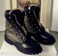 Wholesale Street Cool Design Brand Womens Ankle Boots Fashion Eyelet Hole Super Quality Paris Waterproof Martin Boots