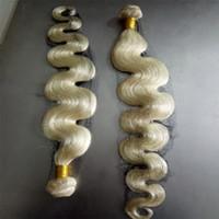 Compra Teñidos haces de pelo de malasia-Grado 7A blanqueo rubio COlor 613 extensiones de pelo malasio cuerpo onda de tramas de pelo humano malasia tejido humano tejer bultos enredo libre puede ser teñido