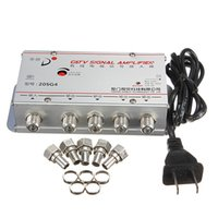 audio signal amplifier - Freeshipping universal Standard AC V Hz Way CATV Cable TV Signal Amplifier AMP Audio Video Booster Splitter Adapter Tools set US Plug