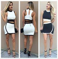 Wholesale 2016 Women Summer Fashion Dress White Black Crop Two piece Dress Patchwork Vestidos Bandage Bodycon Sexy Dresses