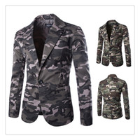 Wholesale Mens Suits Blazers Spring autumn Fashion Military Style Camouflage Printing Men s A Grain of Button Casual Suits US SIZE XS L