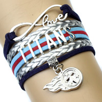Wholesale Pieces Infinity Love Football Bracelet Titans Football Team Bracelet Navy Blue Red Silver Leather Jewelry