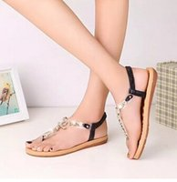 Wholesale Women s shoes summer styles women sandals female channel rhinestone comfortable flats flip gladiator sandals party wedding shoes Free