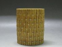 bamboo brush pot - China Rare Yellow Glaze porcelain Carving bamboo shape Brush Pot Qianlong mark