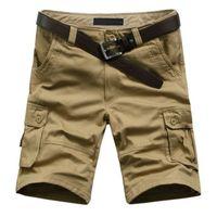 Wholesale Big Size Summer Cotton Male Cargo Shorts Men Knee Length Multi Pocket Leather belt Casual Shorts Homme