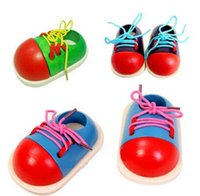 Wholesale Fancy wooden shoes Toys kindergarten early education lacing threading props Tie shoes cm x92