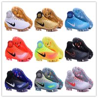 achat en gros de boîtes de football-2016 Original Mercurial Magista obra II Chaussures de football FG High Ankle Soccer Chaussures Outdoor Crampons Mens SOCCER Crampons Avec Box