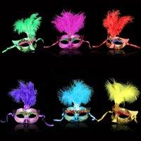 Wholesale Multi Color Feather PVC Princess Mask Sexy Hallowmas Venetian Bauta Mask Half Face Party Dance Mask Masquerade Cosplay Decor