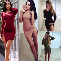 Wholesale New Autumn Long Sleeve Sexy Side Split Bodycon Dress Black Wine Red Khaki Army Green Slim Women Casual Dress Brief Sexy Clubwear
