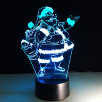 Cheap Santa Claus 3D Illusion Lamp USB Touch Table Lamp 7 Color Changing Novelty Led Night Light Christmas Holiday Gifts Desk Lamp Atmosphere Lamp