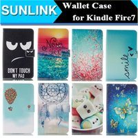 amazon credit card - Painted Print PU Leather Wallet Case Stand Flip Folding Folio Cases Cover for Amazon Kindle Fire Fire7 Credit Card Slot Holder