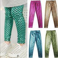 Wholesale INS Children Girls Fish Scale Mermaid Skinny Leggings Stretchy Slim Pants Trousers Mermaid panty printing leggings colors KKA1174