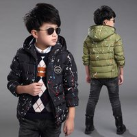 acrylic coating spray - Brand Fall Winter Boy Fashion Spraying Paint Print Puffer Coat Children Cotton Padded Clothes Kid Casual Wadded Jacket G321
