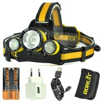 Wholesale BORUiT Lighting T6 led Headlamp USB Rechargeable Headlight head lamp Lantern light Battery USB charger USB cable