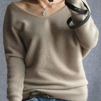 Wholesale winter cashmere sweater women fashion sexy v neck sweater loose long sleeve solid wool sweater