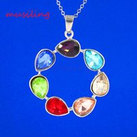 angels stones - musiling Jewelry Chakra Stone Pendants Angel Wing Life Tree etc Silver Plated Charms Reiki Pendant Fashion Women Mens Jewelry