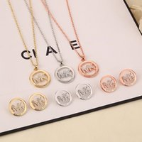 Wholesale Crystal Necklace Settings - MK Michael Kores style High quality Crystal Jewelry sets necklace and stud earrings set letter brand jewellery for women Silver Gold