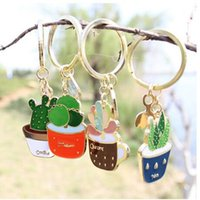 Wholesale X172 Cute Succulent Potted Aloe Vera Alloy Key Chains Fashion Jewelry