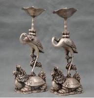 antique candle stick - Modern Art Sculpture Figurine quot China Silver Bronze Crane Dragon Turtle Candle Stick Statue Pair Tibetan Silver decoration bronze factory