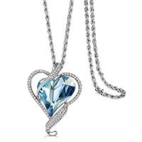 achat en gros de gros pendentifs cristal-Neoglory Bijoux Fantaisie Heart Love Écrans Autrichiens Chaîne Long Big Boho Colliers Pendentifs Pour Femmes 2017 Nouveau JS4