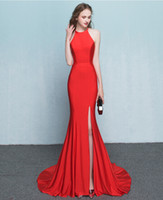 Wholesale 2017 New Real Image Halter Sheath Mermaid Sexy Formal Evening Dress Zipper Back Simple Floor Length Party Dress Glamorous Runway Prom Dress