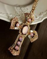 achat en gros de vente en gros rose pendentif croix-Vente en gros-2016 nouveaux colliers Sweet Lovely Choker rose cristal colliers Croix Colliers pour les femmes Collares mujer gros N322
