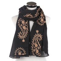 Cheap Free Shipping 2016 New Fashionable Black White Paisley Embroidery Long Scarves Shawl Wraps For Womens 80cm*180cm (It will have mistake for S