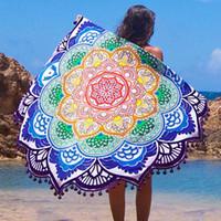 Wholesale New Beach Mandala Indian Hippie Boho Round Cover Up Beach Towel Beach Mat Shawl Yoga Mat Summer Letter Sarong Cloak Bathing Suit