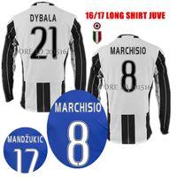 Wholesale 2016 Long Sleeve JUVE maglie Higuain Chiellini DYBALA Soccer Jersey Blue Pjaca MARCHISIO Juventus Jersey Dani Alves Football Kits