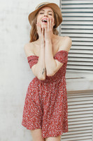 Wholesale Retro fashion shoulder floral summer dress Vintage high waist beach dress women Sexy short dresses vestidos
