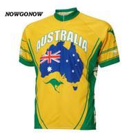 al por mayor jersey de ciclo de australia-NUEVO Australia ciclismo retro ciclismo amarillo Jersey ropa ciclismo ciclismo bicicleta fresco NOWGONOW hombre turístico completo zip
