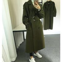 Wholesale New Arrivals Arm Green Long Women Coats Hot Style Elegant Long Sleeves Lapel Neck Double Button Wool Blends Long Jackets