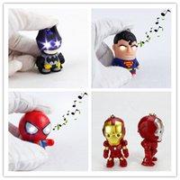 as picture action figures superheroes - NEW LED superhero Batman Keychain pendant accessories spiderman Iron man luminous with sound action figures key chain Captain America