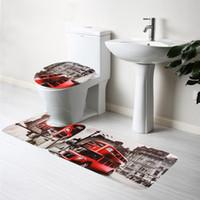 Wholesale Pattern Pieces Bath Mats Set Non slip Bathroom Mats Carpet Pedestal Rug Lid Toilet Cover Pad Water Absorption Carpet